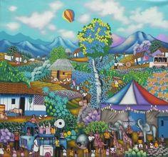 Título:Nuestro Circo Campesino. Artista:Alvaro Gaitan Barrios. Técnica:Oleo sobre Lienzo. Año:2009. Lugar:Masaya.