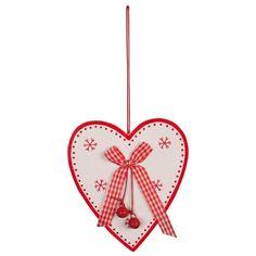 Clayre & Eef webshop voor winkeliers::houten figuren::Decoratie::Kleine hangers::Hartvorm-hangers::Decoratie hart hangend