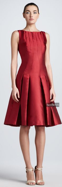 Carolina Herrera :Drop-Waist Duchess Cocktail Dress, Red                                                                                                                                                                                 More