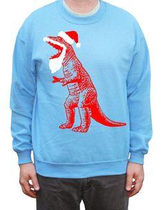 Funny Ugly Christmas Sweater Santa TRex Dinosaur by happyfamily, $28.00