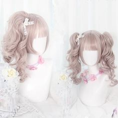 NEW 60 Style Daily Gothic Harajuku Kawaii Cute Gradient Lolita Curly Hair Wig Kawaii Hairstyles, Diy Hairstyles, Pretty Hairstyles, Anime Wigs, Anime Hair, Cosplay Hair, Cosplay Wigs, Blonde Grise, Scarlet