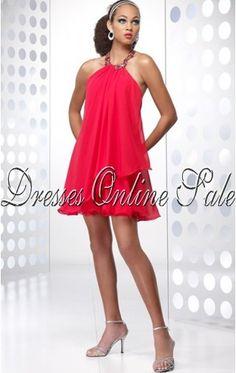 Best A-line Knee-length Halter Watermelon Chiffon Dress