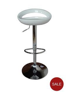 Avanti Bar Stool in White The Avanti stool features a clean white acrylic seat with a curved design for superb comfort when you're sitting at your breakfast bar or high table. A sturdy chrome plated base adds contrasting shine, while the gas-lift mechanism allows you to adjust the height to a maximum of 96.5 cm.Also available in black (see item number 6U6GD), silver (6U6G), purple (6U6G7) and red (6U6GC).Dimensions: Height 78 - 96.5, Width 46.5, Depth 45 cmDepth: 45 CMHeight: 78 CMMateria...