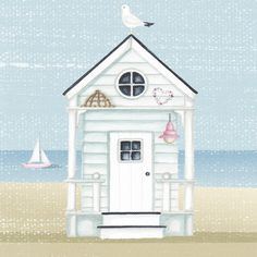 Start Out Your Very Own Sewing Company Nicola Rabbett - Summer Days Seaside Art, British Seaside, Coastal Art, Beach Huts Art, Beach Art, Cottage Art, Happy Paintings, House Drawing, Naive Art