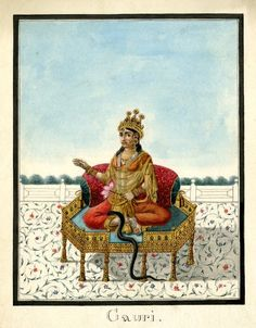 Gauri, a benevolent goddess and consort of Śiva or Varuna. She is shown seated on a golden throne with a bolster at her back. She wears a crown and large amounts of jewellery. She has two arms, with her right hand she gestures and with her left hand she holds a lotus flower. Behind the terrace, foliage gives a suggestion of a distant landscape. A snake rises up on to the throne from the floor. Company School, early 19th cent, Patna.