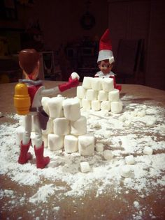 Over 300+ Elf on the Shelf Ideas - Scout & Woody having a good ol' fashioned snowball fight! Woody even nailed Scout in the head... Lol