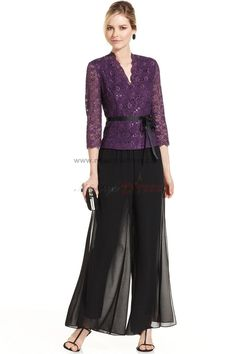 Popular three quarter sleeve mother of the bride dresses pant suits with purple lace jacket nmo-018