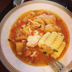Colombian Sancocho! Chicken soup with manioc, potatoes, corn cob and plantain. Great for a Sunday lunch!
