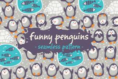 Funny penguins pattern by PenguinHouse on @creativemarket