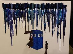 Doctor Who In the Rain Crayon Art