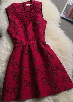 Rose Red Beading Sleeveless A-line Dress