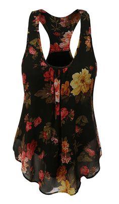 857efca82b9 Uncinba Women s Plus Size Sleeveless Floral Chiffon Vest Tank Racerback Tops  at Amazon Women s Clothing store