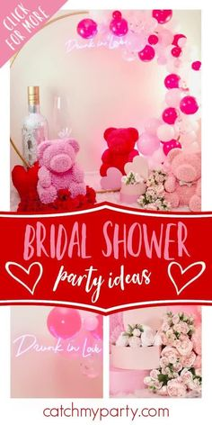 You are going to love this romantic bridal shower! Love the party decor! See more party ideas and share yours at CatchMyParty.com #catchmyparty #partyideas #bridalshower #valentinesday #love Bridal Shower Photos, Bridal Shower Cakes, Bridal Shower Party, Wedding Shower Drinks, Party Drinks, Party Favors, Drunk In Love, Party Activities, Valentines Day Party