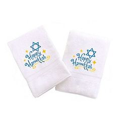 Linum Home Textiles Embroidered Set of 2 Happy Hanukkah Hand Towels