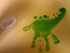 Handprint dinosaur--This would be a cute activity to do
