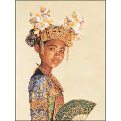 """Small Balinese Dancer Counted Cross Stitch Kit - 13.75"""" x 17.75"""" 18 Count"""