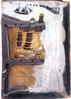 Alfred Wallis, St Ives Harbour, Hayle Bay and Godrevy and Fishing Boats, 1932-34