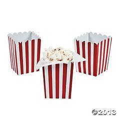 Mini Red Striped Popcorn Boxes - Oriental Trading