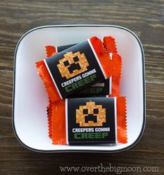 Free Printable Minecraft Halloween Wrappers. Kids would love to get these in their candy bag!