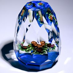 """Ray Banford Paperweight - Xtra fancy cut cabbage rose bouquet on dark blue ground. 1985, 2.5""""w x 3""""t, 13.8oz"""