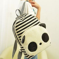 Cute Panda Cartoon Stripe Sequin Canvas School Bag Backpack  Fashion Backpacks - Fashion Bags - ByGoods.com