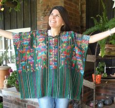 Guatemalan Huipil from Nahuala Hand Embroidery Tunic Top Sweater Poncho NICE! #Handmade #TopHuipilPoncho