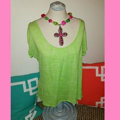 Vanity Green Top Top ONLY- Vanity lime green top, stretchy material size medium but it is loose fitting. Criss cross design on back.  Measures 19 inches across and 26 inches from top to bottom Vanity Tops Blouses