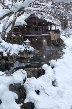 Rotenburo in Minakami, Japan in winter
