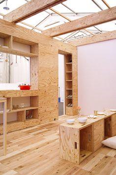 Plywood Chic - barcode room by studio 01 alex knezo and akinori hamada Plywood Interior, Plywood Walls, Plywood Boxes, Plywood Furniture, Modern Furniture, Furniture Design, Interior Architecture, Interior And Exterior, Interior Design