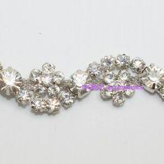 LG-402 costume applique clear rhinestone crystal chain trim for wedding  cake   gown 1 71ffa3331482