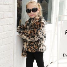 69ef24a81c1e9 Faux Fur Coat Kids Baby Girls Leopard Autumn Winter Jacket Thick Warm  Outwear Clothes BFOF