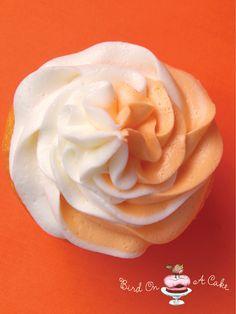 Orange Creamsicle Cupcakes.. made with cake mix, orange jello, instant cheesecake flavored pudding, and orange juice.