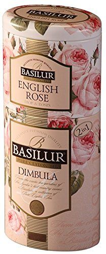 Basilur | Fruit and Flowers Collection |100% Pure Ceylon | Single Origin | English Rose and Dimbula Region Black Tea | Two Layered Metal Caddy (Pack of 1) >>> Quickly view this special product, click the image : Fresh Groceries