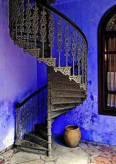 Spiral Stairway to Heaven Stairway To Heaven, Penang, Interior Exterior, Interior Design, Mansion Interior, Blue Walls, Indigo Walls, Stairways, Shades Of Blue