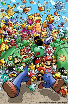 It's awesome to see all the Koopas and other Mario mobs from Super Mario Bros. 3 chasing the raccoon plumber and his brother Luigi. Super Mario Bros, Mundo Super Mario, Super Mario World, Super Mario Brothers, Super Smash Bros, Legend Of Zelda, Fan Art, Metroid, Mario Party