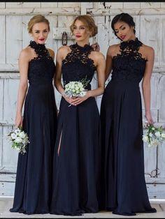 7d9ff76dc76 A-line Bridesmaid Dresses Dark Navy Long Bridesmaid Dresses kmy523