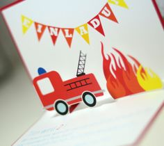 Fire Department - Party - Firetruck - Invitation Invitation - Pop Up Card - - Invitation Pop Up, Invitations, Birthday Bash, Birthday Parties, Tarjetas Pop Up, Pop Up Cards, Fire Trucks, Firefighter, Party Themes