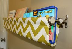 Double-poled curtain rod becomes cute fabric shelf!