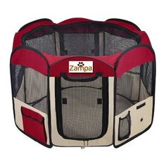 Zampa Portable Foldable Pet playpen Exercise Pen Kennel + Carrying Case for Larges Dogs Small… - Lovely Pets Indoor Dog Gates, Dog Barrier, Outside Dogs, Dog Spay, Buy A Dog, Pet Gate, Dog Care Tips, Playpen, Outdoor Dog