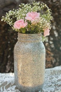 Glitter Mason Jars - Quart Size Set of 12 - available in rose gold, gold, or silver - by Belle Amour Designs (Gold Bottle Centerpieces) Glitter Jars, Glitter Mason Jars, Mason Jar Vases, Mason Jar Centerpieces, Mason Jar Crafts, Mason Jar Diy, Wedding Centerpieces, Wedding Table, Wedding Decorations