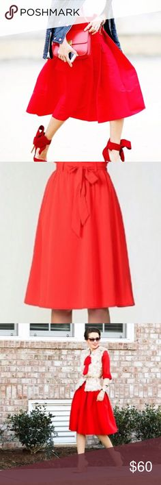 Moon Collection red bow pleated midi skirt Make a color statement with this gorgeous red midi skirt with matching belt. Made by Moon Collection, a ModCloth brand favorite! So chic! Pair with a fur vest or denim jacket for Fall. Moon Collection Skirts Midi