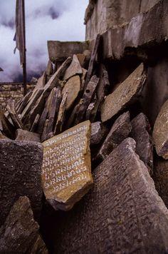 Mani (Prayer) Stones stacked outside of Namche Bazaar Nepalese Himalaya, Nepal. Mani stones, a form of prayer in Tibetan Buddhism- Travel Honeymoon Backpack Backpacking Vacation Tibetan Buddhism, Buddhist Art, Le Tibet, Om Mani Padme Hum, Asia, Angel Art, Light And Shadow, Love Photography, Sign Design