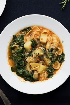 NYT Cooking: Some soups are light and refreshing preludes to a meal; others, like this one, are an entire meal in a bowl. Pasta and potatoes, like pasta and beans, are frequently combined in Italian vegetable dishes. The potatoes should be starchy, like Yukon Golds or russets, so that they lend body to the broth. Short pasta shapes add texture; onion, fennel, garlic, tomato paste and fresh herbs and greens ...