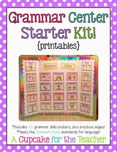 This Grammar Kit includes 22 language skills posters to use as a reference for your kiddos, plus practice pages for each.  You can make a grammar reference bulletin board, a portable trifold office, or simply slide the posters into a binder with sheet protectors!