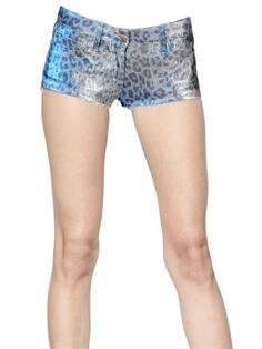 JUST CAVALLI Blue Lurex Stretch Denim Shorts
