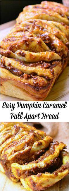 Easy Pumpkin Caramel Pull Apart Bread is super easy to make and an incredibly tasty pumpkin treat! #bread #pumpkin #easy