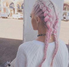 Pastel pink & white dutch braid, so cute x