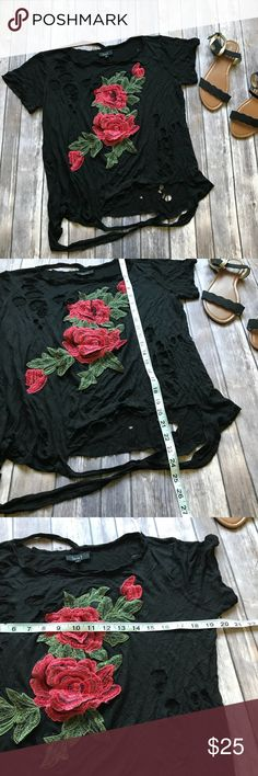 Love J Burnout Rose Tee Size Small Like new factory burnout very distressed tee from Love J. The Rose is sewn on and textured. This is so cute with skinny jeans and is perfect for Fall! 💠From a clean and smoke free home!💠 Add to a bundle to get a private discount💠Free Gift with $25+ Purchase 💠 Discount ALWAYS Available on 2+ items💠 No trades, holds, modeling or transactions off of Poshmark.💠 love j Tops