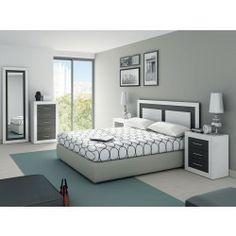 Dormitorio moderno compuesto de cabecero, 2 mesitas, sinfonier y espejo vestidor.