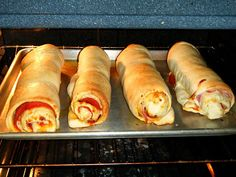 Pepperoni Pizza Rolls ~~~ Doesn't get much easier than this for home cookin'...   Oozing with goodness!